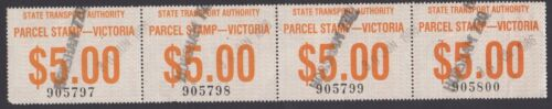 Railway parcel stamp Victoria $5 strip 4 Horsham 720 cancel, uncommon like this