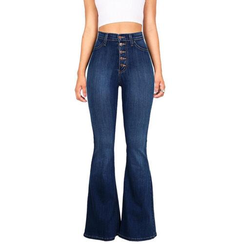 Vintage Womens High Waist Flared Denim Jeans Skinny Trousers Bell-bottom Pants