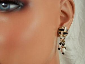 Very-Pretty-Vintage-Enamel-amp-Lucite-Bead-Dangle-Earrings-3032jl