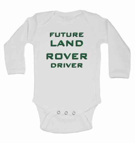 Future Land Rover Driver Personalised Long Sleeve Baby Vests Boys Girls White