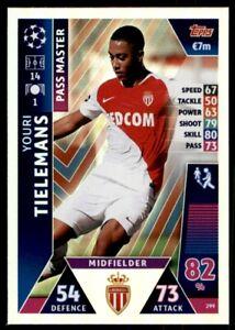 Ligue des Champions 18//19 Carte 299-Youri Tielemans-Pass Master