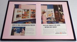 1955-General-Electric-Refrigerator-Framed-ORIGINAL-12x18-Advertising-Display