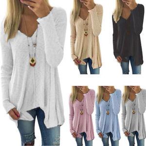 Women-Irregular-Sweater-Sweatshirt-Pullover-Jumper-Casual-Loose-Long-Top-Blouse
