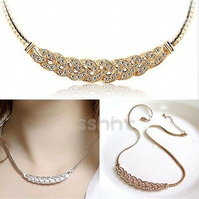 Fashion Women Pendant Chain Crystal Choker Chunky Statement Charm Bib Necklace