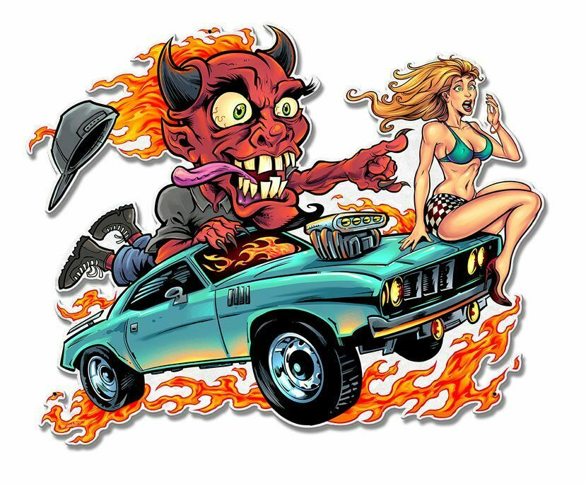 Speed Demon with Flaming Hot Rod Plasma Cut Metal Sign