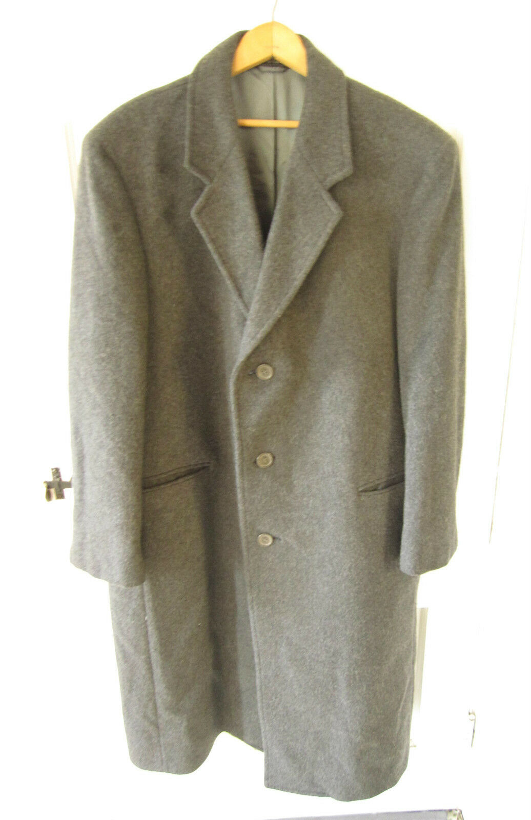Fine Ciatti charcoal cashmere blend wool dress coat 44R