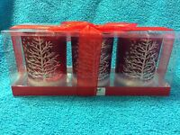 Signature: Set Of 3 Glass Candle Holders (tree With Snow)