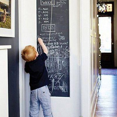 Black Plain Blackboard Vinyl Wall Stickers Draw Decor Mural Decals Art 60x200cm