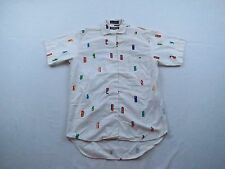 Womens Generra Collection Geometric Cotton SS Button Up Top Blouse Shirt Sz S