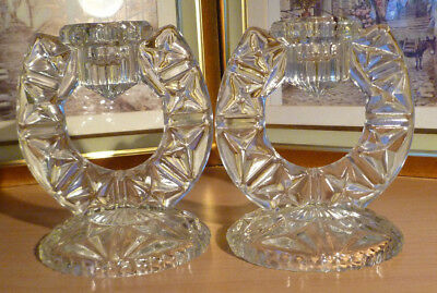 Candid Pair Of Vintage Bohemian Czech Libochovice Art Deco Glass Candle Holders Yet Not Vulgar Art Glass