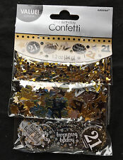 21st Birthday Confetti Table Decoration Sprinkle Black Silver Gold Age 21 Party