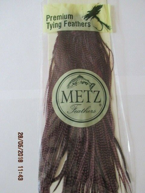 Metz saddle grizzly claret saddle grade grade grade 2  flytying hair feathers 8a4892