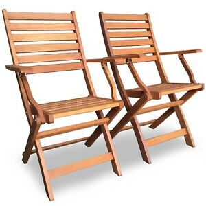 vonhaus 2 pack wooden folding chairs set of 2 hardwood armchairs