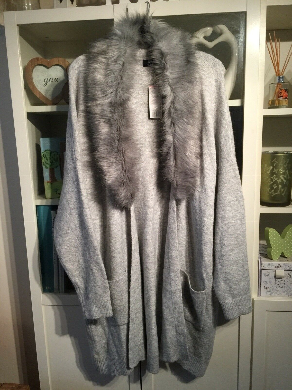 "JJ7 F&F Plus Sz 22 Light Grey Soft Faux Fur Trimmed 44""Long Cardigan Nwt"