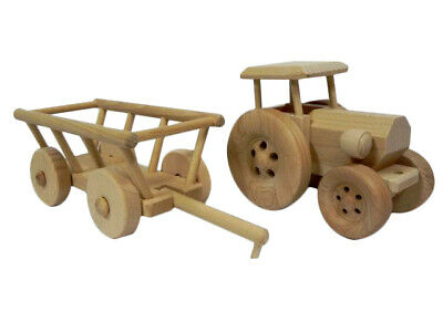 Trattore con Rimorchio Giocattolo in Legno Regalo Regalo di Compleanno per Bambini Craft Decoupage | eBay