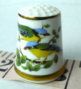 Songbirds-Yellow-Bellys-Porcelain-Thimble-1979-Vintage