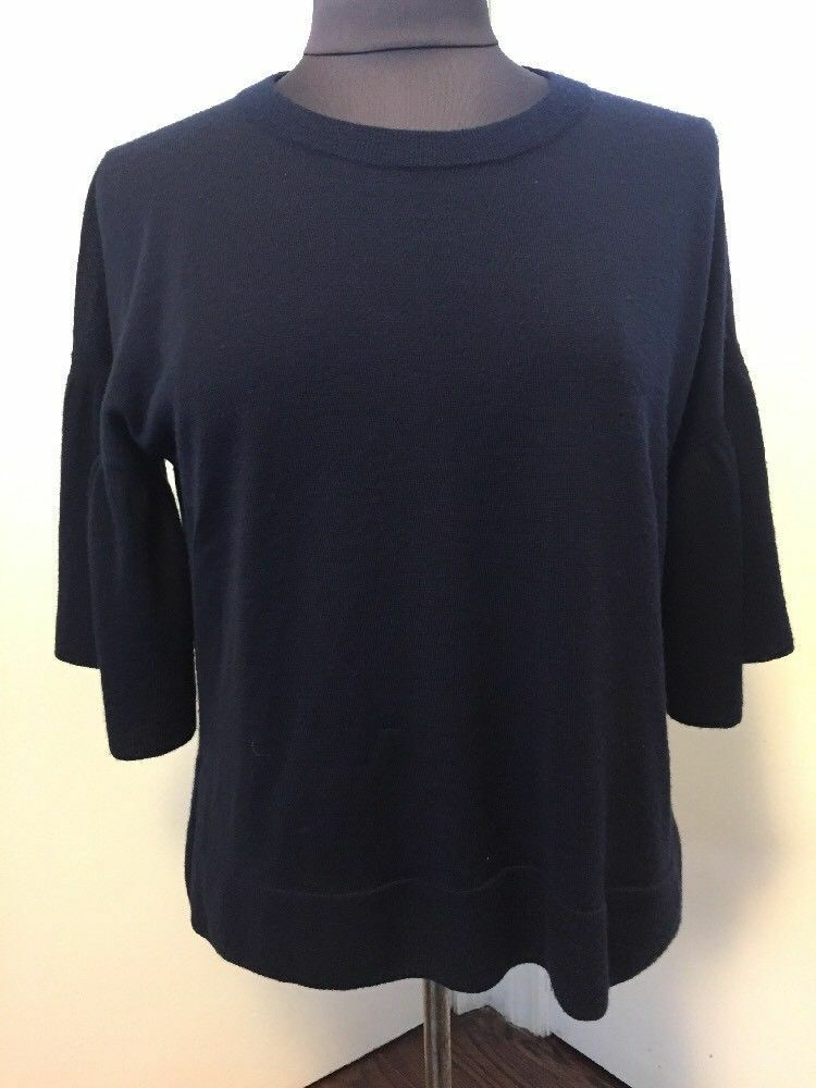 New J.Crew Größe S  100% Italian CASHMERE Navy TOP Relaxed Fit SWEATER