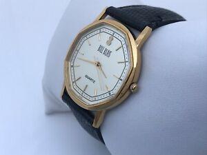 Bill-Blass-Men-Watch-Gold-Tone-Black-Leather-Band-Analog-Wrist-Watch-Japan-Movt