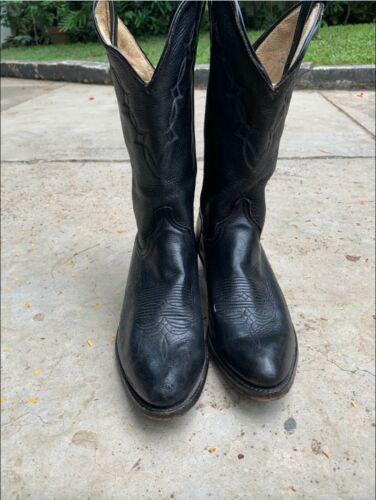 VINTAGE MEN'S BLACK WESTERN COWBOY BOOTS SIZE 8.5