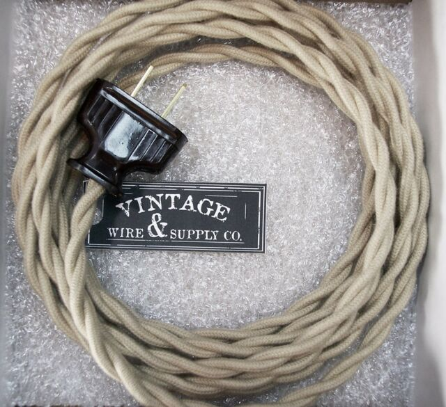 Pleasant Tan Cotton Rewire Lamp Cord Steampunk Cloth Twisted Wire Antique Wiring Cloud Cosmuggs Outletorg