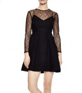 Sandro-Dress-36-Jeanette-Black-Noir-Illusion-Lace-A-Line-Women-s-NWT-370-LS