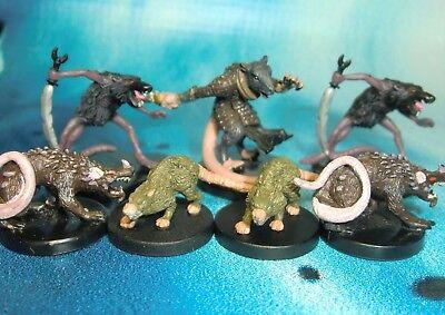 Dungeons & Dragons Miniatures Lot  Giant Rat Dire Rat Wererat !!  s116