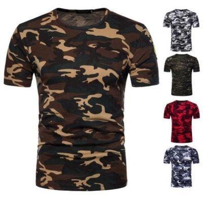 été hommes détente camouflage col rond manche courte basique haut t-shirt lot