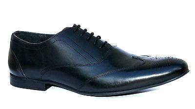 Musgo Bros Blazer UK 11 para Hombre de Cuero Negro Redondo/Slim Encaje hasta Zapatos Rrp £ 60.00