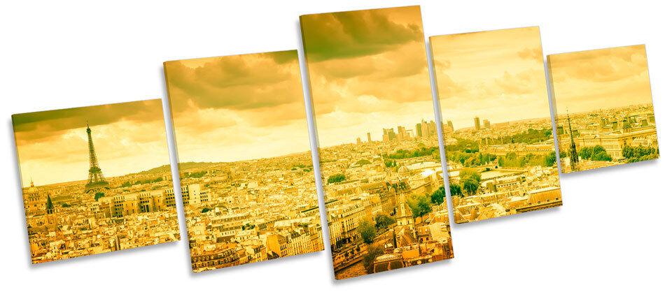Sunset paris france skyline multi toile murale art photo box frame