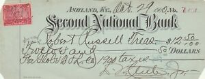 1900 SECOND NATIONAL BANK, ASHLAND , KENTUCKY    REVENUE STAMP