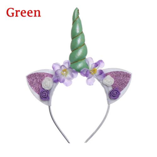 Xmas Gift Cat Ear Headband Rainbow Unicorn Flower Hair Hoop Baby Hairband