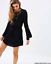 thumbnail 1 - Size 12 Sass - Solitaire Trimmed Dress Black Ladies Womens Short Long Sleeve New