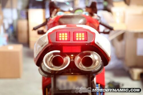 DUCATI 748 916 996 998 SEQUENTIAL INTEGRATED SIGNAL LED Tail Lights SMOKE TINTED