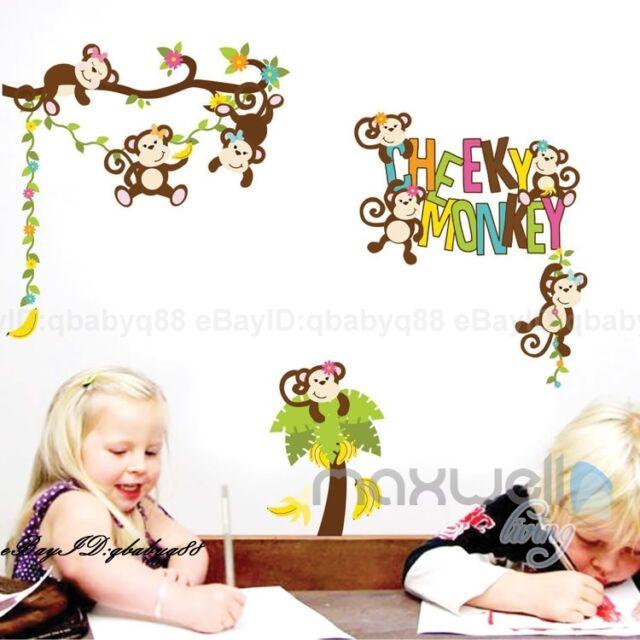 Cheeky Monkey Banana Tree Wall sticker Removable decals decor kids Nursery Art