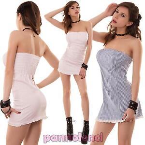 Miniabito-donna-vestito-abito-vestitino-corto-righe-pizzo-bandeau-nuovo-CC-865