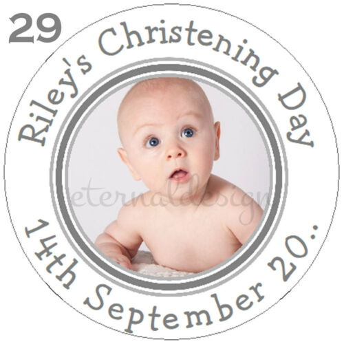 Personalised White Glossy Christening Day Circle Stickers *15 Designs 7 Sizes*