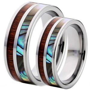 HIS-HERS-2-PCS-MATCHING-Natural-Koa-Wood-Abalone-Tungsten-8mm-Wedding-Band-Rings
