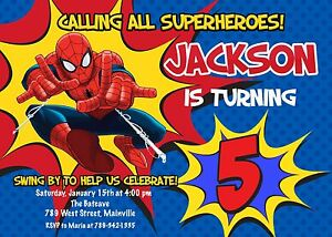 spiderman superhero birthday party invitation ebay