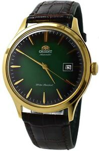 Orient-Bambino-Version-4-FAC08002F0-Green-Dial-Brown-Leather-Band-Men-039-s-Watch