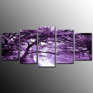 FRAMED-Modern-Canvas-Art-Prints-Poster-Purple-World-Art-Painting-Wall-Decor-5pcs