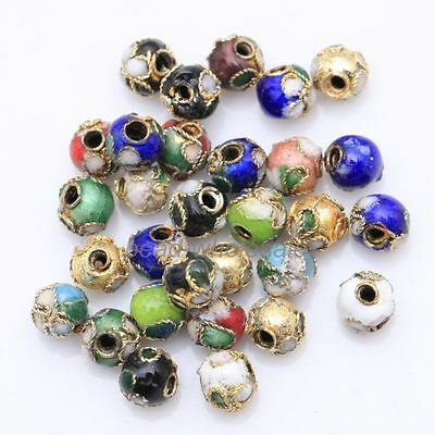 110pcs 5mm Mixed Color Cloisonne Round Beads Spacer Beads Findings
