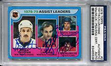 1979-80 Topps BRYAN TROTTIER MARCEL DIONNE LAFLEUR MACMILLAN Signed Card PSA/DNA
