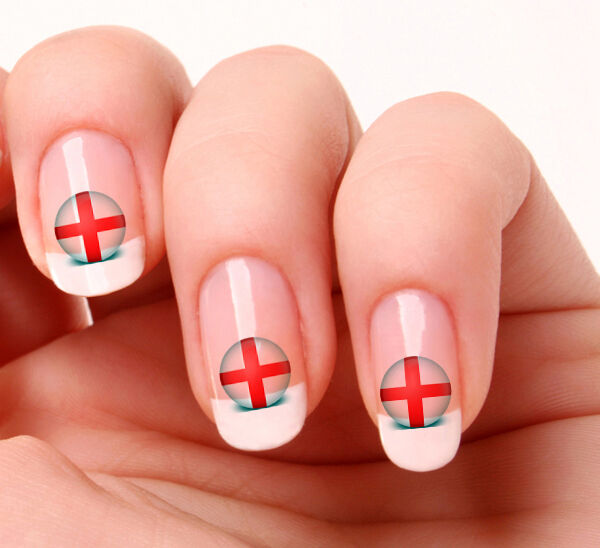 20 Nail Art Decals Transfers Stickers 21 World Cup England Flag Icon Ebay