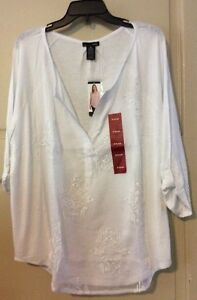 NEW-Women-XL-Shirt-White-Blouse-68-Career-Lace-Roll-Up-Sleeve-NWT-XLarge-Tunic