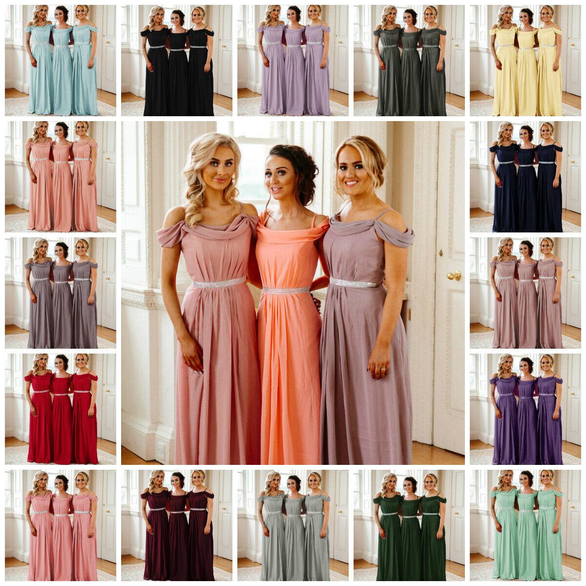 New Chiffon Cowell Bridesmaid Dress Diamante A-line Wedding Party Ballgown