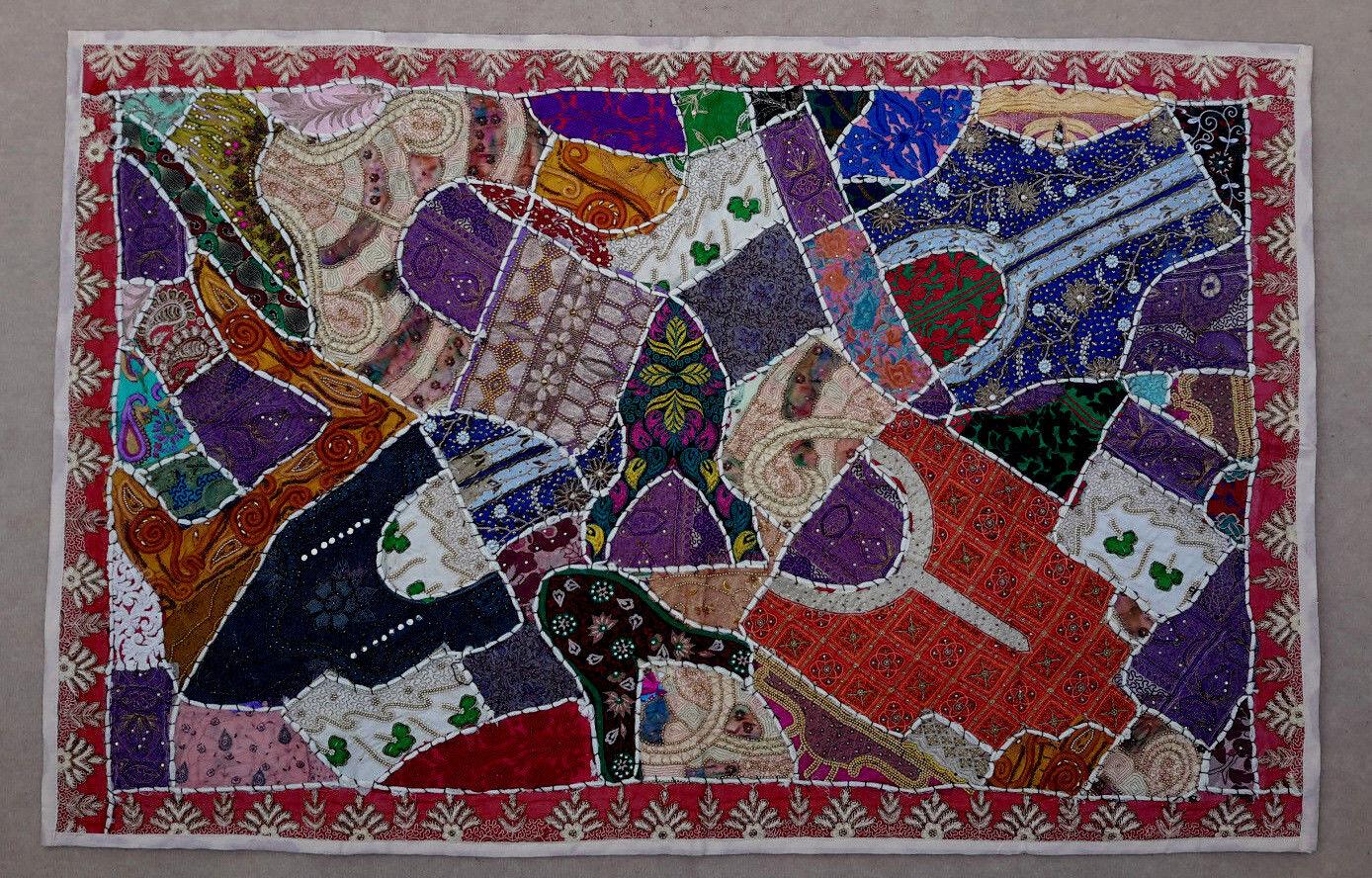 100 cm x 150 cm Wandteppich Creme Wandbehang Bollywood Indien Patchwork Sari   Hohe Qualität und geringer Aufwand