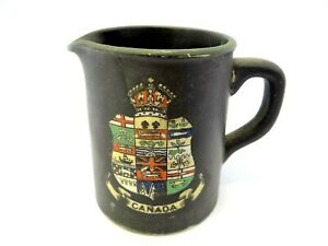 Antique-Beardmore-amp-Co-Fenton-Basaltine-Ware-Hand-Painted-Canada-Spouted-Creamer