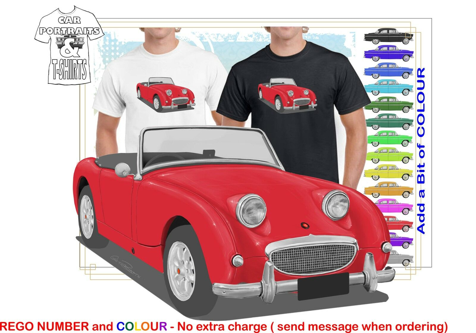 CLASSIC 58-61 AUSTIN HEALEY SPRITE SPORTS ILLUSTRATED T-SHIRT  RETRO SPORTS CAR