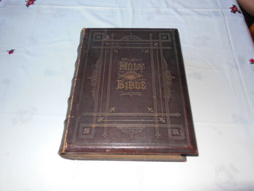 BROWN'S SELFINTERPRETING FAMILY BIBLE ILLUSTRATED 1860's PUB. GLOUGH & MUIR