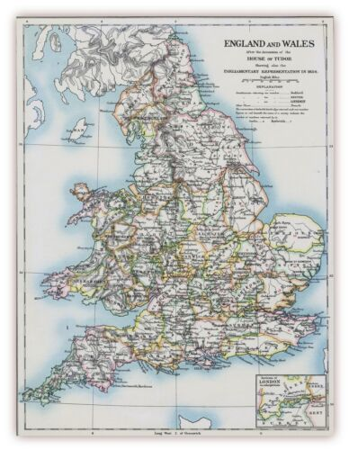 XXL Poster 100 x 70 cm alte Landkarte England und Wales um 1654 House of Tudor